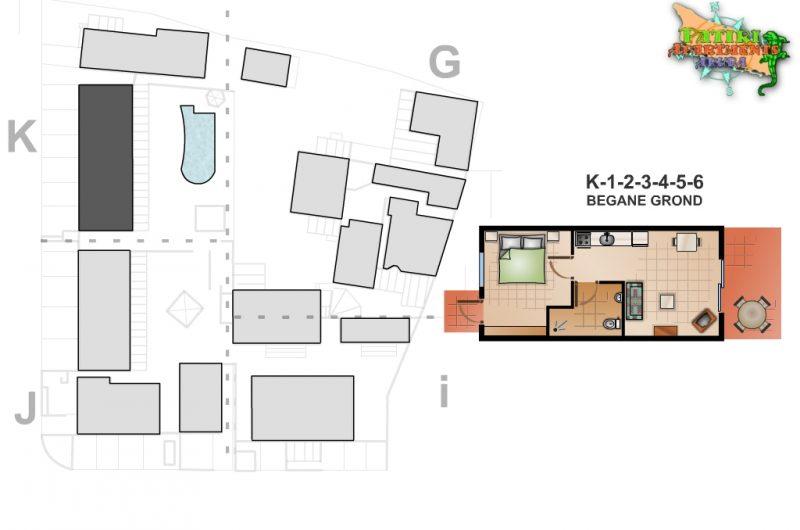 Appartement met 1 slaapkamer - geschakelde woning - Patiri